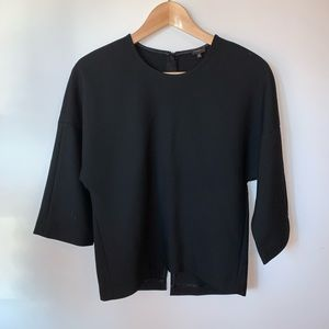 Babaton Black Thick Dressy Top with Zipper Detail